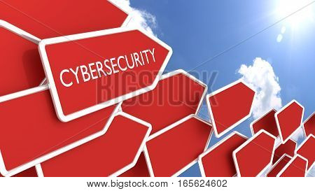 Red arrows with the word cybersecurity in front of a cloudy blue sky pointing towards the sun 3D illustration
