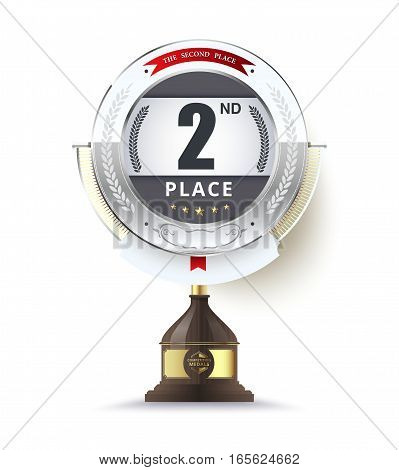Silver Trophy For Second Place. Vector Illustration