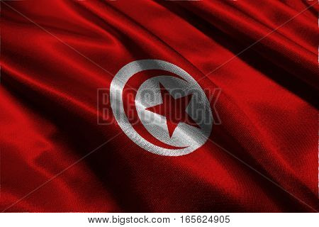 Tunisia flag ,3D Tunisia national flag 3D illustration symbol