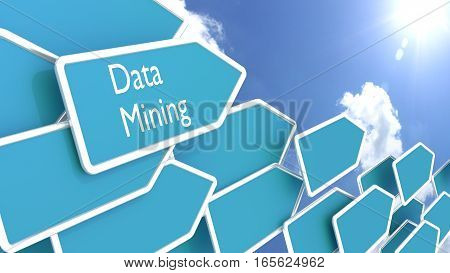 Blue arrows with the words data mining in front of a cloudy blue sky pointing towards the sun 3D illustration