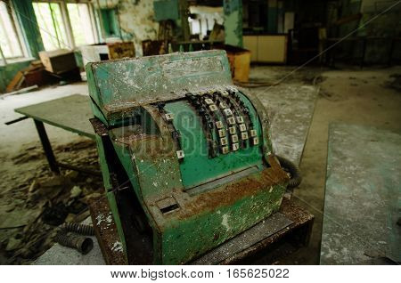 Old Rusty Soviet Calculating Machine At Chernobyl City Zone Of Radioactivity Ghost Town.