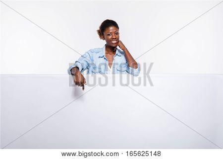 Black Woman On White Empty Panel