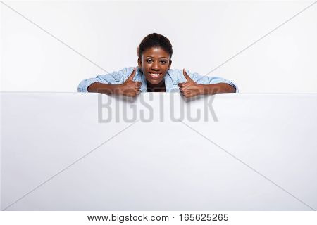 Black Woman On White Empty Panel
