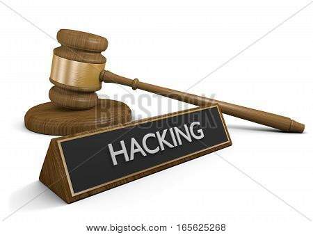 Laws against illegal hacking and cyber criminals, 3D rendering