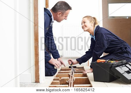 Plumber And Female Apprentice Fitting Central Heating System