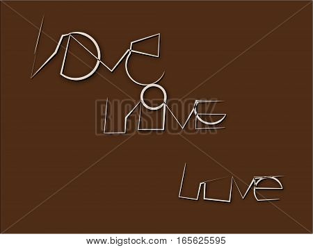 Abstract pattern on brown beige written an unusual type the word love