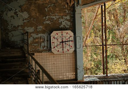 Lost School Sport Gym At Chernobyl City Zone Of Radioactivity Ghost Town.
