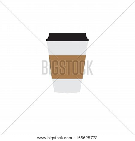 Disposable coffee cup icon on white background.