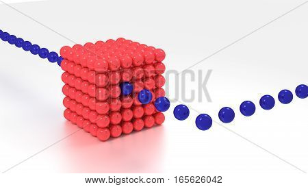 Big red cube made of spheres on white floor and blue data balls streaming in and out big data concept 3D illustration