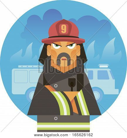 Strong and courageous man is a firefighter in a helmet