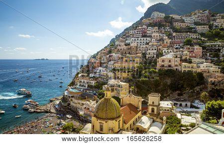 Panorama of Positano town Amalfi Coast Italy