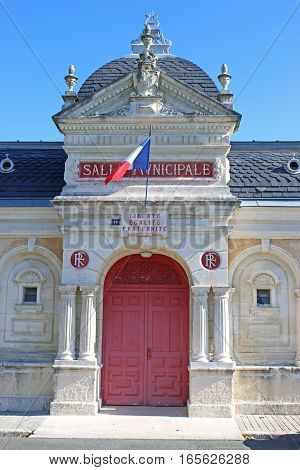 Entrance of the Municipal hall in Saint-Jean-d'Angely, France