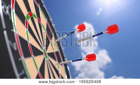 Arrow flying towards a bulls eye of a dart board with blurry sunny background 3D illustration