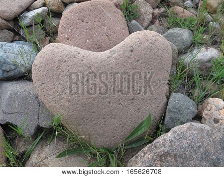 Pink stone heart is like a favorite