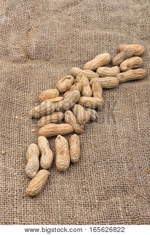 Peanut In The Shell On A Jute Background. Healthy Food