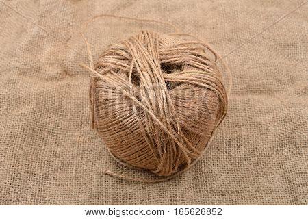 Close Up Of Hank Of Twine, Reel Of Rope, Ball Of Hemp Thread On Jute Background