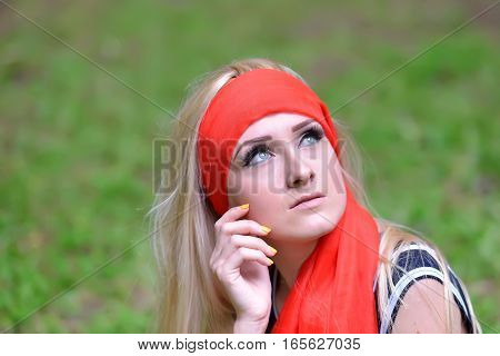 Beautiful Blonde Young Smiling Woman Portrait In The Green Forest, Posing