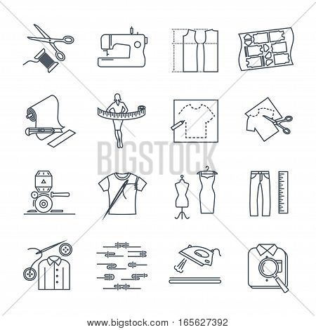set of thin line icons apparel clothing garment manufacturing sewing process