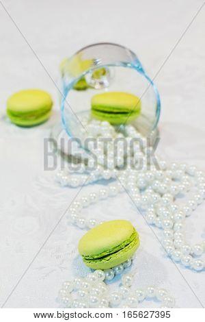 Dessert Macaron With Beads And Lemon Dish