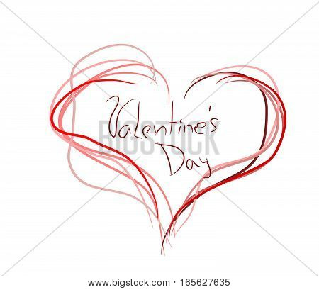 Illustration of heart decorated with text Valentine's Day