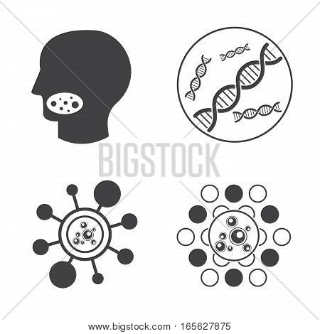 Sign of DNA and Virus vector icons set