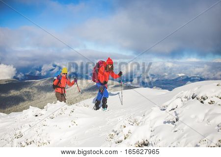 Climbers Are On Snow.