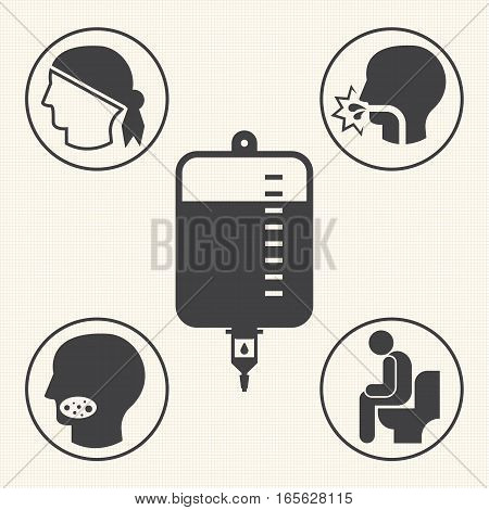 Side effects of chemotherapy. Vector icons for infographic