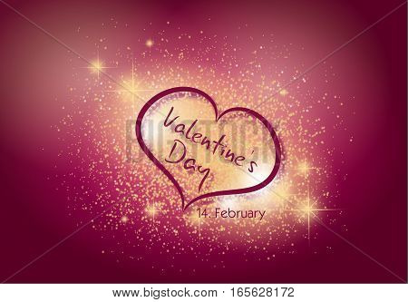 Illustration of heart decorated in shining lights decorated with text Valentine's Day