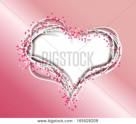 Illustration of blank white heart decorated with pink dots and text Valentine's Day