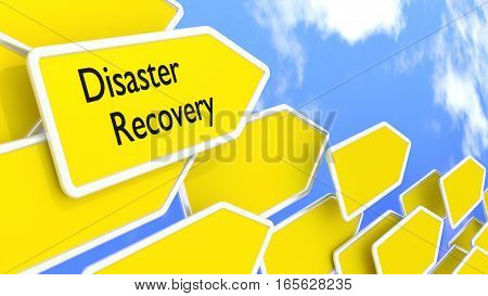 Multiple yellow arrow signs pointing in one direction with a cloudy blue sky background disaster recovery concept 3D illustration