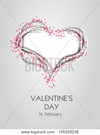 Illustration of heart decorated with pink dots and text Valentine's Day