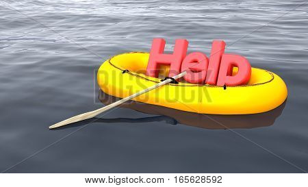 The red word help in a yellow rubber boat alone on the ocean help and support concept 3D illustration