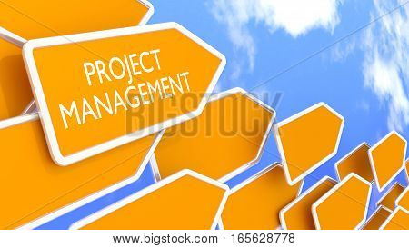 Multiple orange arrow signs pointing in one direction with a cloudy blue sky background project management concept 3D illustration