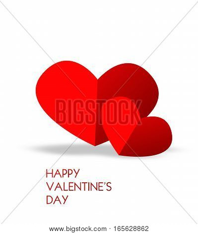 Valentine's greeting card with illustration of two red hearts on white background