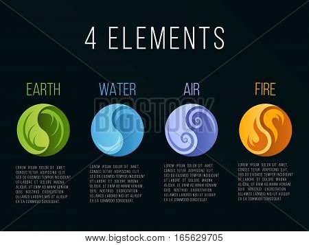Nature 4 elements in circle yin yang abstract icon sign. Water Fire Earth Air. on dark background.