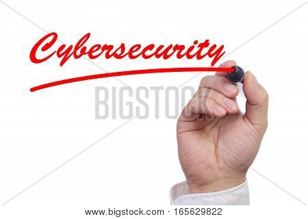 Hand writing the word cybersecurity and underlining it in red isolated on white