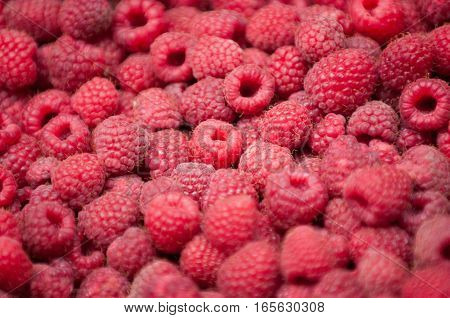 Fresh raspberries. Selective focus set in the center