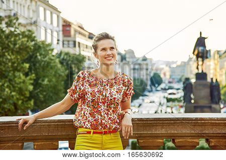 Tourist Woman Looking Into Distance In Prague, Czech Republic