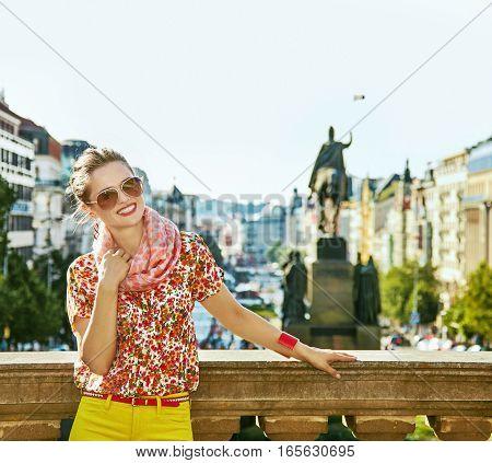 Happy Woman On Vaclavske Namesti In Prague Czech Republic