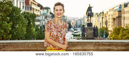 Woman Standing On Wenceslas Square In Prague Czech Republic