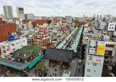 December 2016 in Tokyo Japan - Aerial view of Sensoji or Asakusa Kannon Temple