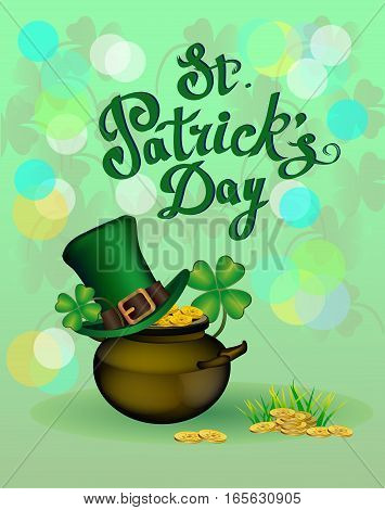 St. Patrick's Day greeting. Vector illustration. Happy St Patricks Day.Blurred Green Background