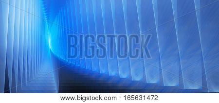 Blue glowing futuristic iterated surfaces computer generated abstract background 3D render