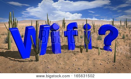 The word wifi in a desert on a hot and sunny day absence of wifi concept 3D illustration