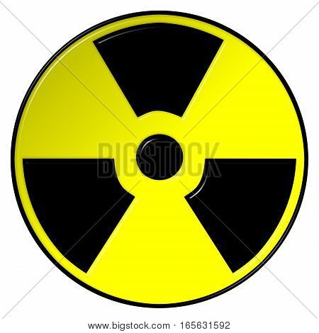 Nuclear Symbol 3D illustration in black and yellow on an isolated white background
