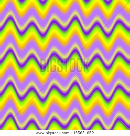 Abstract colorful purple and yellow wave pattern.  Multicolor wavy texture background. Seamless illustration.