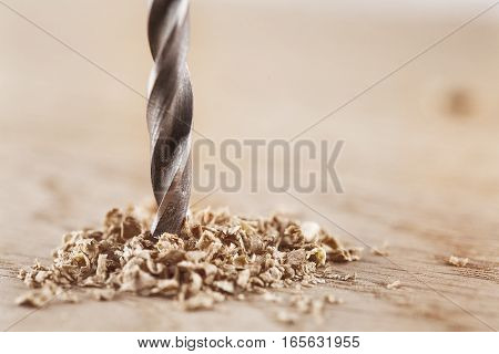 DRILL BIT WOODEN AND OAK PLANK WITH HOLE