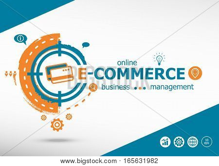 E-commerce Concept On Target Icon Background. Flat Illustration.