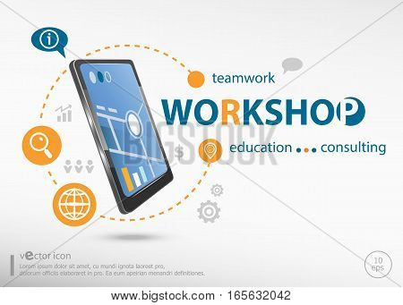 Workshop Word Cloud Concept And Realistic Smartphone Black Color.