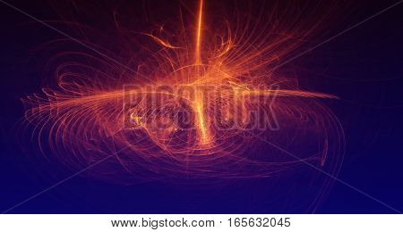 Abstract orange and red light and laser beams and glowing shapes  multicolored art background texture for imagination, creativity and design.